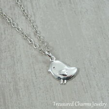 Silver Baby Chick Necklace - Baby Bird Chicken Farm Animal Easter Charm Pendant