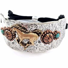 WESTERN GOLD SILVER HAMMERED PLATE HORSES BLACK LEATHER CUFF SILVER BRACELET