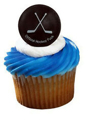HOCKEY PUCK Cupcake Rings Cake Toppers Birthday Party Supplies Decoration set 24