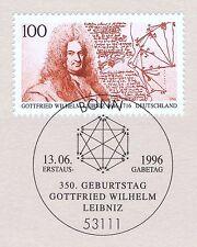 BRD 1996: Gottfried Wilhelm Leibniz Nr 1865 mit Bonner Ersttagsstempel! 1A 1610
