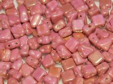 Chalk White With Red Topaz Luster 6 mm Two-Hole Czech Silky Diagonal Beads  (30)