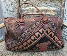 Fab Vintage Matt CAMRON large Turkish Wool Kilim Carpet Bag Tote Carry On 20""