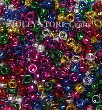 380pc Multi Colors Metallic 9x6mm Pony Beads for crafts costume jewelry making