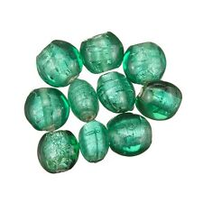 Green Transparent Silver Lined Disc Glass Beads 10mm Pack of 10 (C22/7)