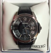 SEIKO Men's Le Grand Sport Black Leather Strap Solar WATCH SNE397