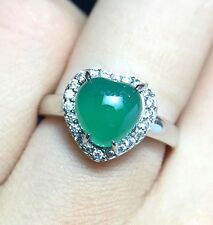 2.49 Ct Natural Green Jade Heart Love Wedding Ring Solid Silver Stamped A108