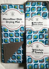 NWT GEOMETRIC KITCHEN HAND TOWELS DISH CLOTHS DRYING MAT 9 PC SET BLUE TEAL GRAY