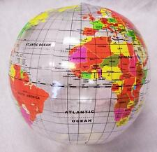12 INFLATABLE 12 IN CLEAR WORLD GLOBE inflate earth ball sphere novelty map new