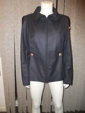 CHANEL 11A Wool Zip Front Square Buttons Blazer Jacket Coat Navy 44 FR  $5410
