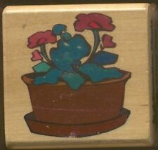 POTTED PLANT VIOLET Design Canadian Maple Collection CMC Wood Mount RUBBER STAMP