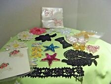 HUGE LOT OF TRIMS beaded & embroidered  for Crafting / Sewing - bows, flowers