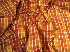 Dupion Silk Fabric 1.5m Gold Brown Check