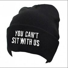 YOU CAN'T SIT WITH US Women's Men's Winter Warm Knit Hip-hop Beanie Hat Black