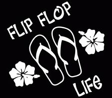 Flip Flop Life Beach Hawaii Car Window Decal Truck Sticker White