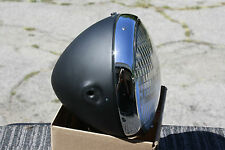 """Lucas style Cafe headlight 7"""" bullet Black & Chrome vintage sidemount 12v or 6v"""