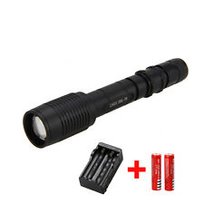 5000Lm Adjustable Zoom CREE T6 LED Flashlight Torch Light Lamp+ 2x18650 +Charger