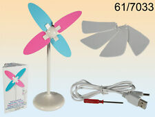 Computer Desk Windmill Style Portable Fan - With USB Plug & Batteries New Boxed