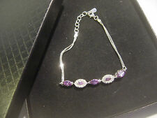 """SOLID SILVER PRETTY MARQUIS AMETHYST &WHITE SPARKLY STONES BRACELET 7"""" BEST QUAL"""
