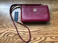 Tommy Hilfiger Colorblock Gold Chain Wallet Crossbody Bag Pebble Leather Red