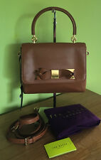 Ted Baker Camotes Brown Leather Metal Bow Small Handbag Crossbody Bag
