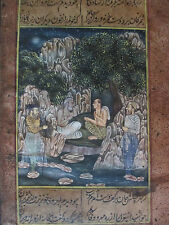 650 Year Old Hand Painted w/SINGLE HAIR Brush  Sandcript Painting 5X9 RARE India