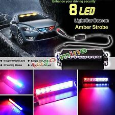 3Modes 8LED Red/Blue Car Police Strobe Flash Light Dash Emergency