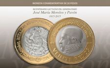 JUST RELEASED UNC MEXICO 20 PESOS 1815 - 2015 100 YEAR  MEXICAN MORELOS COIN