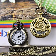 Antique Bronze Sterling Rose Hollow Vintage Necklace Chain Watch Clock Pocket