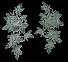 VT91 Mirror Pair Floral Flowers Roses Lace Venise Venice Applique Motif Cream