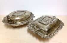 Pair of Vintage SIlverplated Lidded Serving Dishes - Rose motif, Shabby Chic