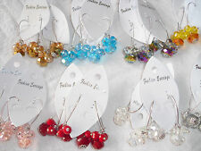 Joblot of 60 Pairs Crystal Dangly earrings mixed colour - NEW Wholesale
