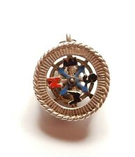 Rare Vintage 925 Sterling Silver NUVO ENAMEL ENAMELLED COMPASS Charm 3.4g