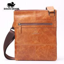 BISONDENIM Vintage Shoulder Bag Man Thin Messenger Bag 100% Genuine Leather Bags