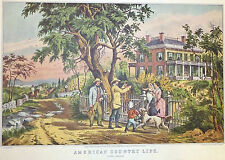 American Country Life October Afternoon Hunt 1952 Color Lithograph Currier Ives
