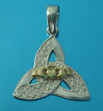 Solid 925 Sterling Silver Celtic Trinity Knot Pendant and Gold Vermeil Claddagh