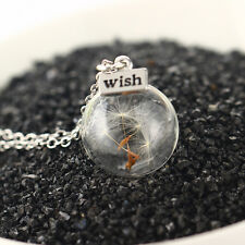 Unique Silver Dandelion Glass Women Lucky Wish Bottle Necklace DIY Handmade Gift
