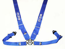 "Sparco Competition 4 Point Snap-In 3"" Seat Belt Harness with Camlock (Blue) FIA"