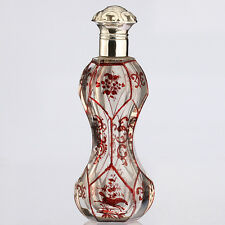 c.1870 Dutch cut glass ruby flashed scent perfume bottle, silver top