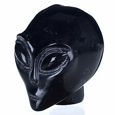"Wholesale 2"" Natural Black Obsidian crystal alien skull carving,Star Being Head"