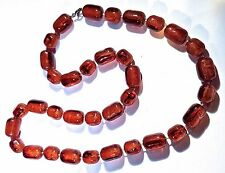 ~Stunning! French Designer Long Faux Amber Cabochon Graduated Bead NECKLACE
