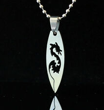 316L Stainless Steel Dragon Surf board Necklace Surfing Pendant  60cm Chain