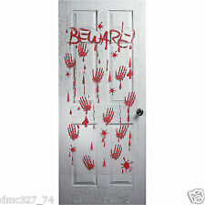 HALLOWEEN Decoration Prop DOOR Wall Cover Mural BEWARE BLOODY HANDPRINTS