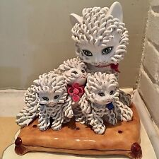 Vintage Italian Spaghetti Lace Porcelain Mama Cat w 3 Kittens Figurine