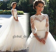 Vintage Lace A Line Wedding Dresses Half Sleeve Chapel Country 2017 Bridal Gowns