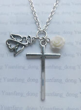 "Large Cross, Angel, Rose Tibetan Silver Charm  Pendant, Long 30"" Chain Necklace"