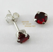 4mm Round BIRTHSTONE EARRINGS in SOLID 925 Sterling Silver Settings!