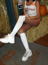 Sexy Long White Thin Foot Hooters Slouch Knee Scrunchie Socks Soccer Gym uniform