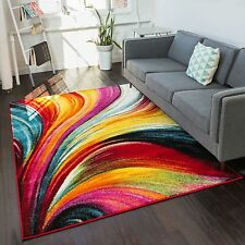 Well Woven Modern Bright Waves Abstract Yellow Multi Area Rug (5'3 x 7'3)