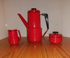 GLUD MARSTRAND Valentines Day Red Enameled Coffee Sugar Creamer Set Dan Kok