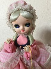 "Bradley Big Eye Doll, Little Bo Peep Pink Dress Outfit 13"" Tall"